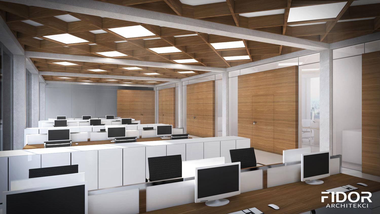 Nowoczesne biuro z elementami drewna i betonu