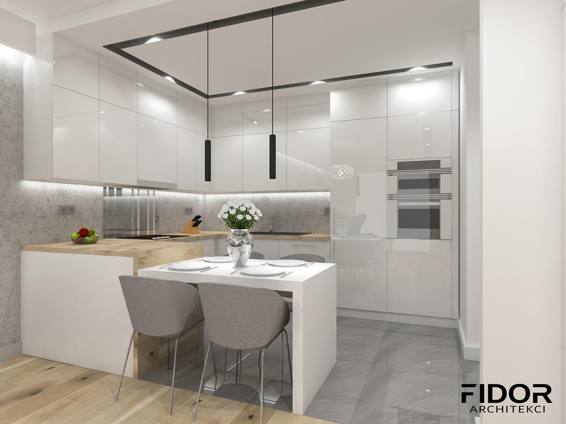 Kuchnia w nowoczesnym mieszkaniu.