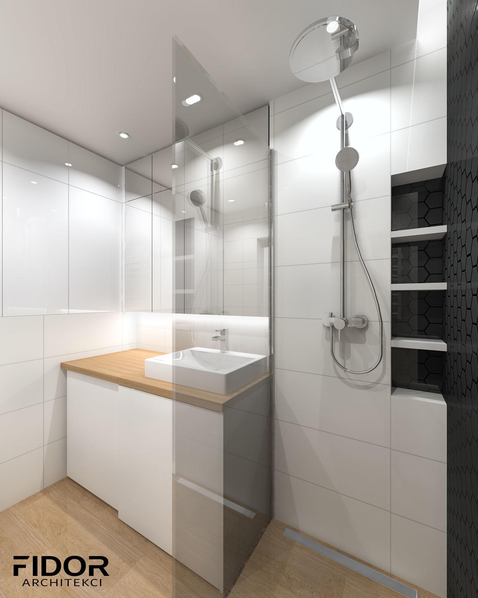 Łazienka w nowoczesnym mieszkaniu, widok na prysznic.
