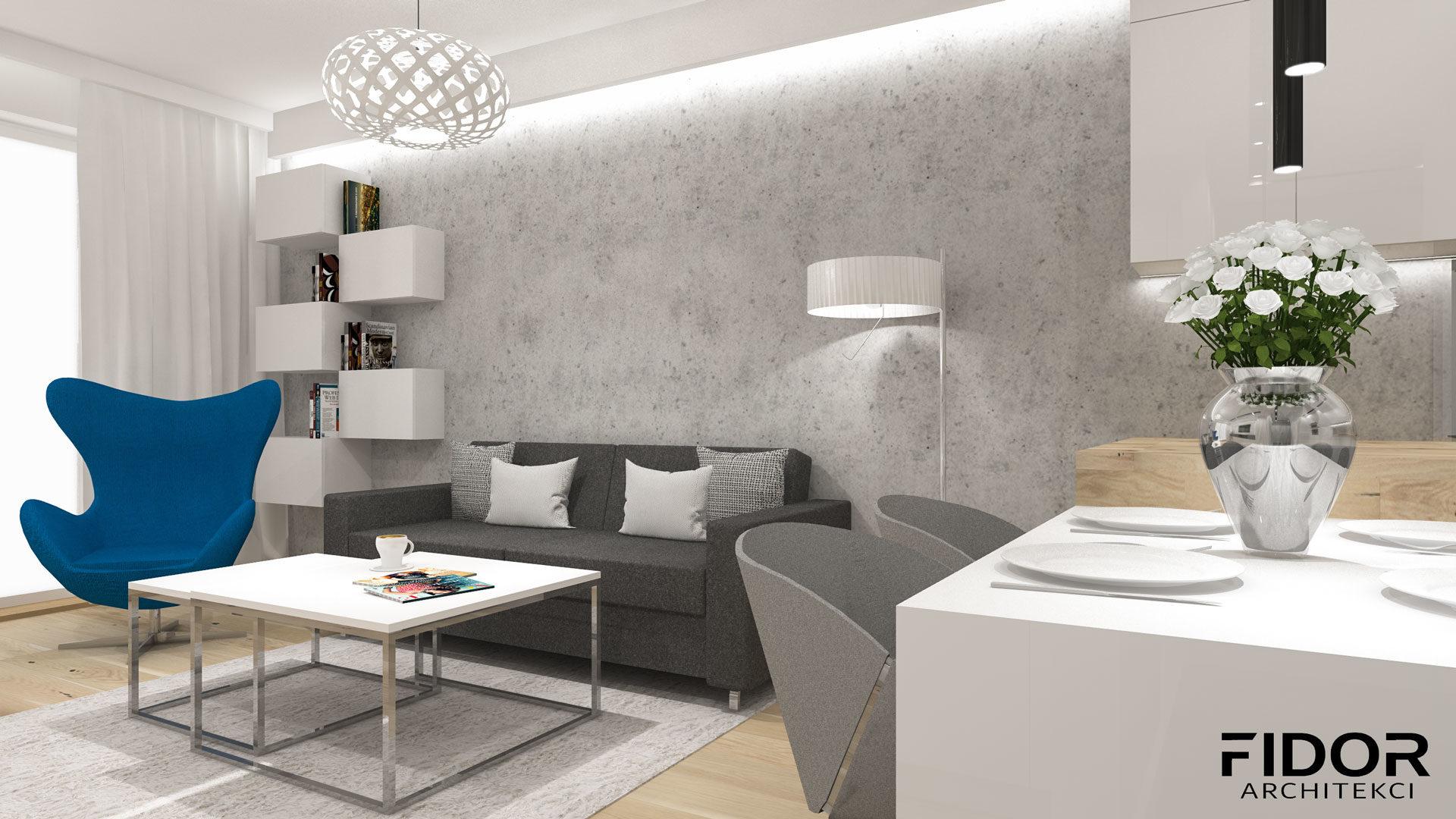 Salon w nowoczesnym mieszkaniu, widok na sofę.