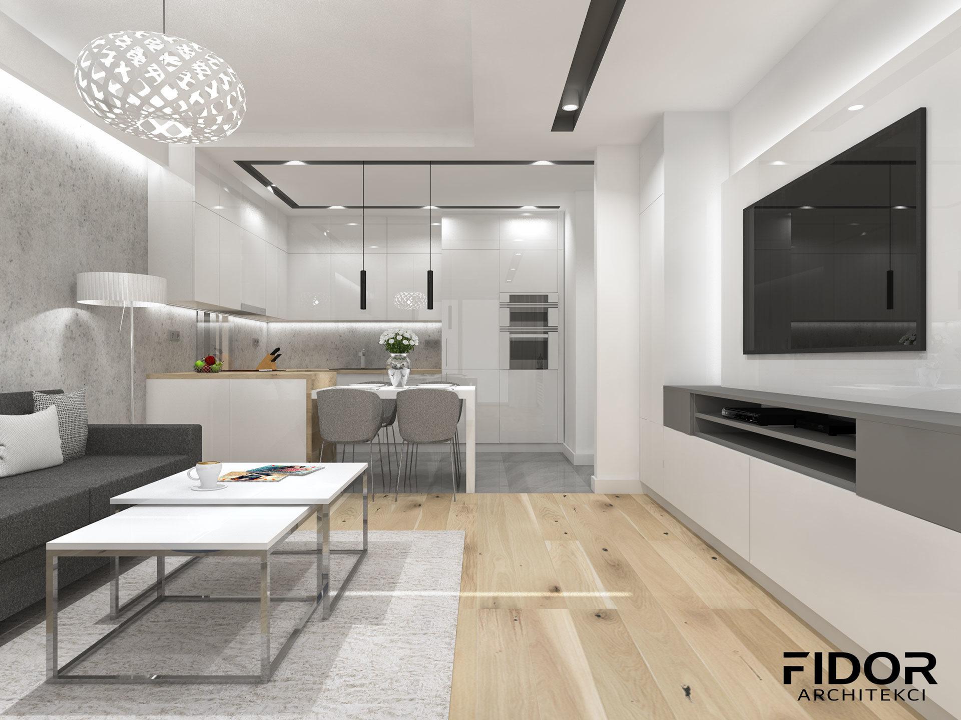 Salon w nowoczesnym mieszkaniu, widok na kuchnie.