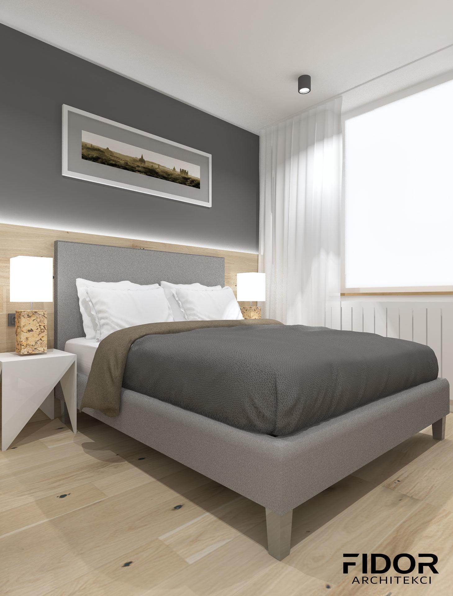 Sypialnia w stylu skandynawskim.